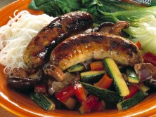 sausage and fried vegetables